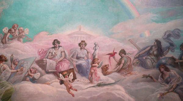 Representación de las bellas artes, fresco sobre el techo de una de las salas de IML